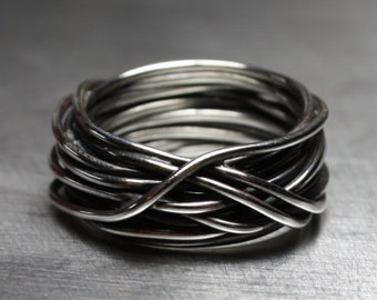 Mens Ring, Wedding Band, Wire Wrapped Ring, Rustic Jewelry, Sterling Silver, Litecoin Accepted