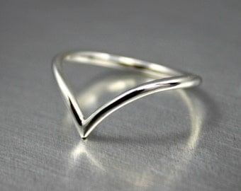 Sterling Silver Chevron Ring, Silver Chevron Arrow Ring