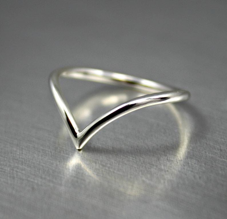 Sterling Silver Chevron Ring Silver Chevron Arrow Ring image 0