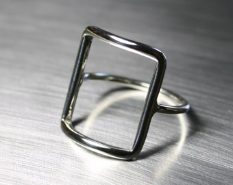 Silver Square Ring, Rectangle Ring, Geometric Ring