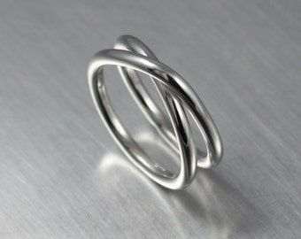 Silver Infinity Ring, Criss Cross Ring, Silver Rings