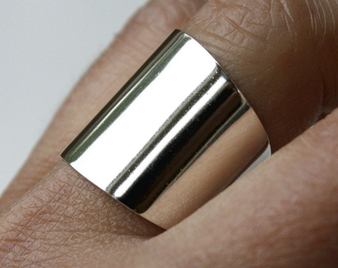 Wide Sterling Silver Ring, Cuff Ring, Large Silver Ring, Tube Ring