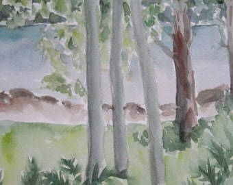 Watercolor Painting Trees Woodland Landscape Original Watercolor Landscape Painting