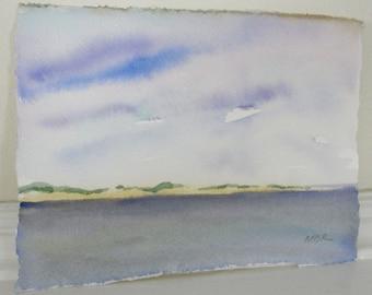 Watercolor Painting, Landscape Painting, Beach Art Painting, Cape Cod Landscape, Blue Ocean Sea and Sky, Home Decor