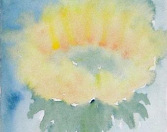 Yellow Flower Art Painting, Yellow Sunflower, Summer Decor, Original Watercolor Painting, Home Decor, Office Decor