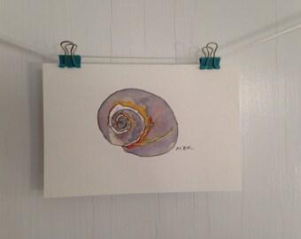 Original Moon Snail Watercolor and Ink Painting, Small SeaShell Painting, Snail Watercolor, Small Beach Postcard Painting, Wall Decor