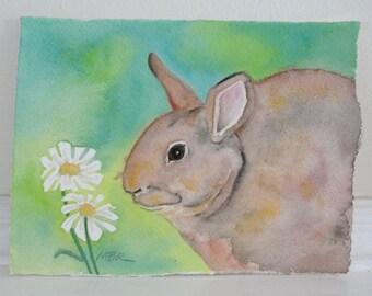 Original Bunny Rabbit Nature Watercolor, Nursery Wall Art Decor, Cute Animal Art