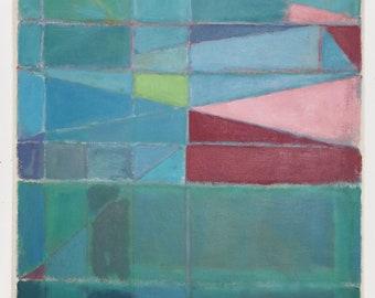 "Abstract Art Original Painting Mid Century Modern Art  24"" x 32"" x 1.5"" Canvas Blue Green Burgandy Grey"