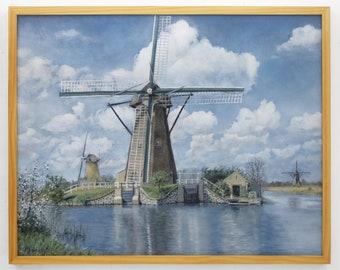 "Landscape Art Original Painting Realism  24"" x 30""  Canvas Blue Green Grey Windmill River"