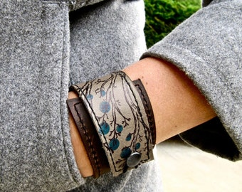 Leather Cuff - Wrap Bracelet - Leather Bracelet - Adjustable Size Cuff - Tree Print - Nature Images - Leather Jewellery - Leather Gift