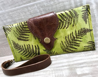 Leather Long Wallet fits Passport/ Phone Wrist Strap & Zipper Pocket Green / Fern * SALE * Coupon Codes
