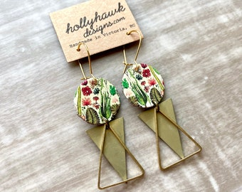 Brass Earrings - Leather Jewelry - Triangle Earrings - Modern Boho - Fern Leaf - Images of Nature - Boho Jewelry - Gifts for Her - Nature