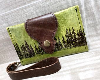 Leather Wallet fits Passport/ Phone with Wrist Strap & Zipper Pocket in Green/ Pine Tree Print, * SALE * Coupon Codes