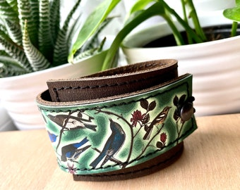 Leather Cuff Bracelet Women's Wrap, Emerald Birds of a Feather Digital Photo Print on 100% Genuine Leather