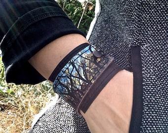Leather Cuff Unisex Wrap, Tree Tangle Digital Photo Print on 100% Genuine Leather