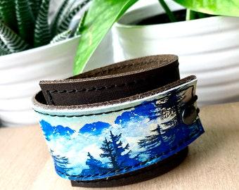 Bracelet Wrap - Leather Cuff -  Misty Mountains - Genuine Leather - Tree Art - Unisex Gifts - Simple Bracelet - Wide Cuff - Boho Jewelry
