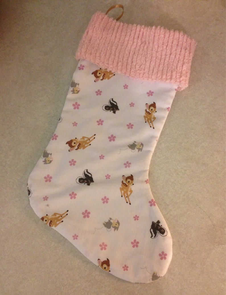 Disney Bambi Thumper and Flower and Chenille Handmade Christmas Stocking with FREE US SHIPPING