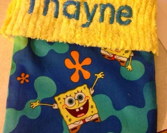 Sponge Bob and Chenille Handmade Christmas Stocking with FREE US SHIPPING