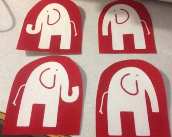 Set of 4 upholstery weight cotton fabric appliqués - elephants on red set #1