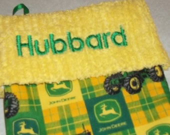 Yellow and Green Check John Deere and Chenille Handmade Christmas Stocking FREE US SHIPPING