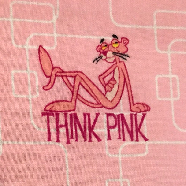 OOP Rare Pink Panther Fabric 27 X 45
