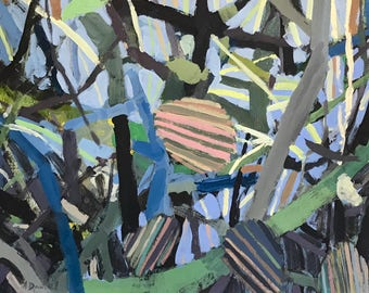 Leaves and Branches on Blue original painting by Andrew Daniel