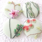 4 pale green pink yellow floral beaded embroidered fabric buttons, 1.5 inches, 3.81 cm, 38.1 mm, size 60 buttons
