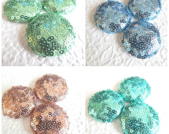 Aqua blue copper green sparkly sequin fabric buttons, 1.5 inches, 3.81 cm, 38.1 mm, size 60 buttons, set of 3