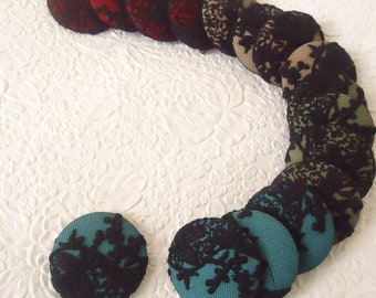 Green blue red lace fabric cover buttons,  1 7/8 inches, 1.9 inches, 4.7 cm, 48.26 mm, size 75 buttons, make necklace or brooch