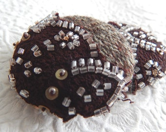 Brown beaded wool buttons, price per button,  1 7/8 inches, 1.9 inches, 4.7 cm, 48.26 mm, size 75 buttons