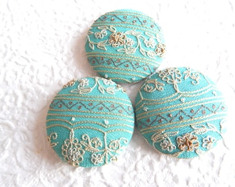 3 aqua ivory beaded embroidered fabric buttons, use in headbands, make a ring, create a pendant, 1 7/8 inches, 4.7 cm, size 75 buttons