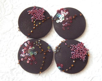 4 dark brown sparkly beaded sequinned fabric buttons, make a ring, create a pendant, 1.9 inches, size 75 buttons