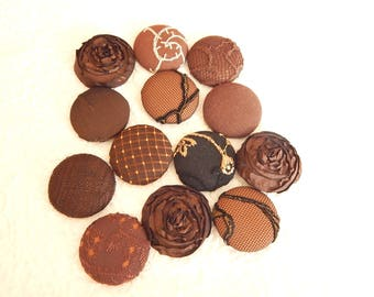 Dark brown fabric buttons, lot of 10, embroidered buttons, 1.5 inches, size 60 buttons