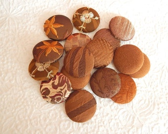 16 nut brown fabric covered buttons, size 60, 1.5 inches