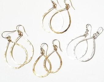 Hammered Teardrop Earrings in Sterling Silver, 14k Goldfilled, Rose Goldfilled