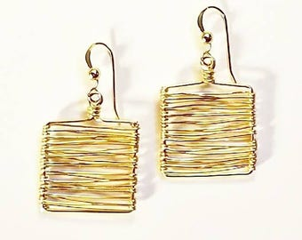 Wrapped Wire 14K Goldfilled Squares Sterling Silver Earrings