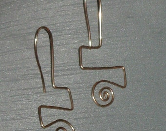 Golden Squiggles Wireworked Earrings