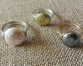 Freshwater Coin Pearl Wirewrapped Ring in Sterling Silver or Goldfilled