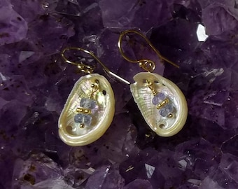 Cayucos Abalone Shell Earrings with Tanzanite on 14k Goldfilled or Sterling Silver