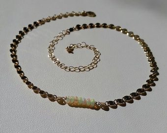Fire Opal Choker Necklace, 14k Goldfilled Coin Chain Choker, Natural African Fire Opal Adjustable 12-16 inch Necklace