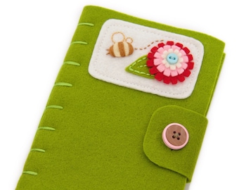 Wool Felt Needle Minder With Felt Flower Decoration, Sewing Basket Notion, Gift For Quilter