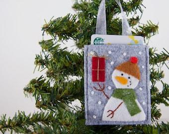 Snowman Ornament and Gift Card Holder, Handmade Coffee Card Holder, Snowman Money Holder, Stocking Stuffer