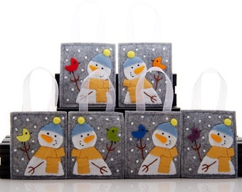 Felt Rainbow Christmas Ornaments, 6 Snowman Ornaments, Felt Rainbow Birds, Handmade Ornament Set, Christmas Tree Decoration, Colorful Birds