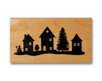 set of 4 village stamp scrapbooking card making home town tree stamp wrapping small town stamp home House rubber stamp building