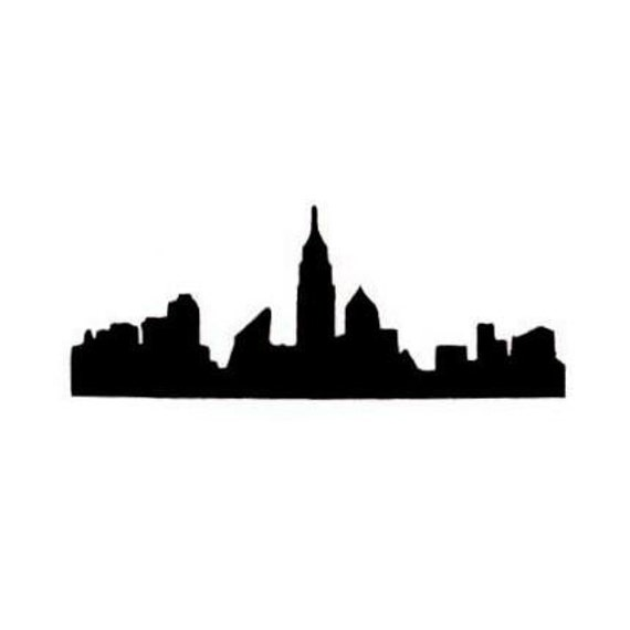 New York City Skyline Silhouette Unmounted Rubber Stamp NYC
