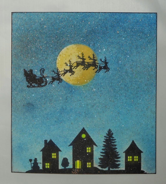 Winter Houses silhouette Rubber Stamp Christmas Village #24