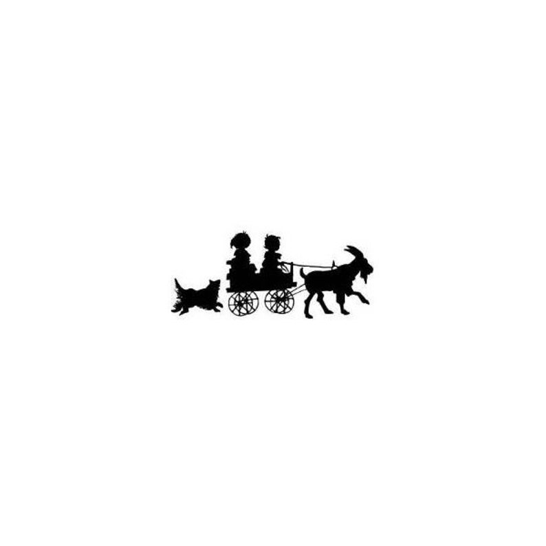 Victorian style CHILDREN in GOAT CART sm silhouette Mounted rubber stamp barnyard animal dog farm summer fun Sweet Grass Stamps No.1