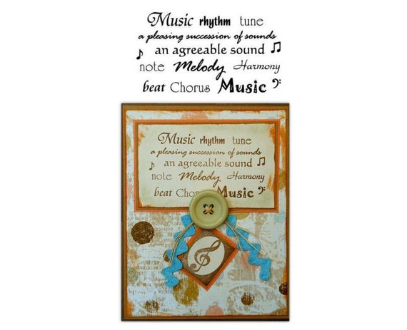 MUSIC WORDS unmounted rubber stamp #10