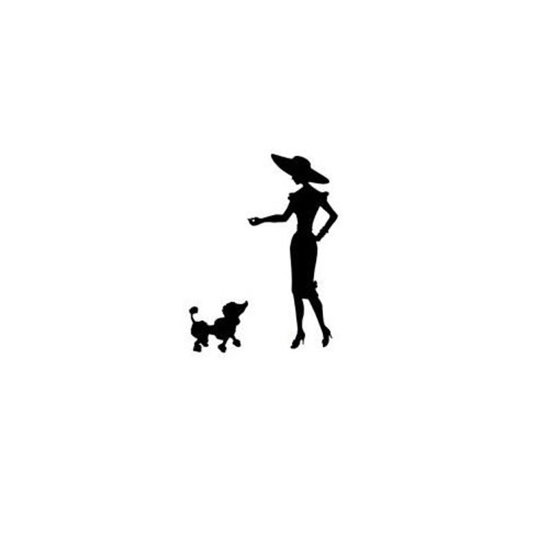 people Lady with Poodle Silhouette mounted rubber stamp Sweet Grass Stamps #22 woman and dog person French