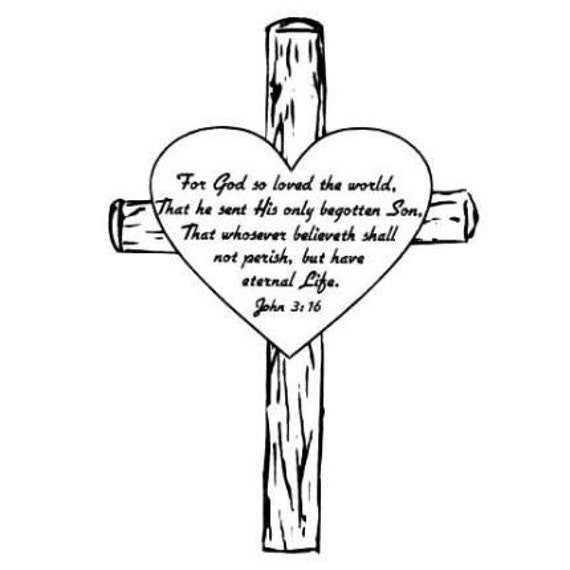 free christian coloring pages of a heart | John 3-16 in Heart on a Cross Unmounted Christian bible verse
